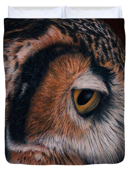 Great Horned Owl Portrait Duvet Cover by Pat Erickson
