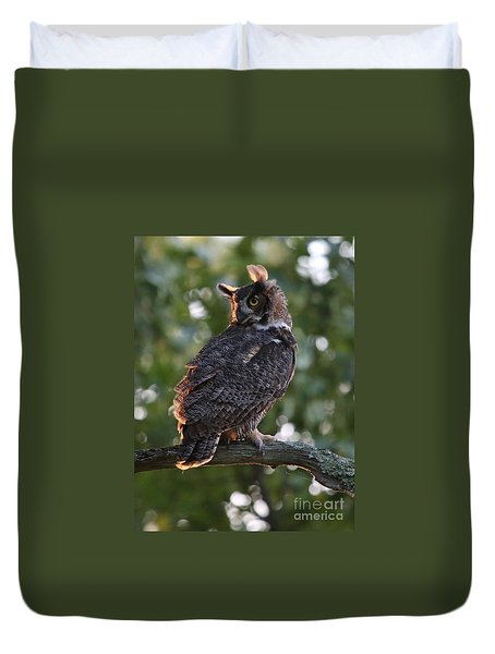 Great Horned Owl Profile Duvet Cover