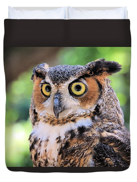 Duvet Cover featuring the photograph Great Horned Owl by Rosalie Scanlon