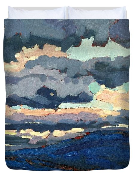 Great Horned Sunset Duvet Cover by Phil Chadwick