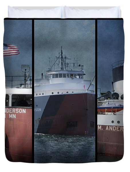 Great Lakes Freighter Triptych Arthur M Anderson Duvet Cover