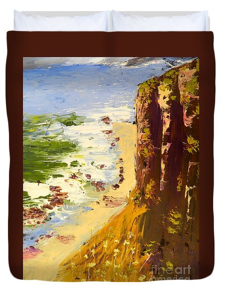 Duvet Cover featuring the painting Great Ocean Road by Pamela  Meredith