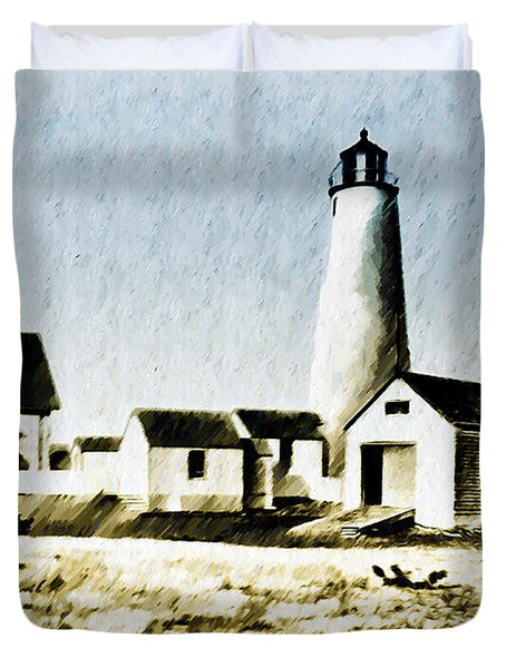 Great Point Lighthouse Nantucket Duvet Cover by Bill Cannon