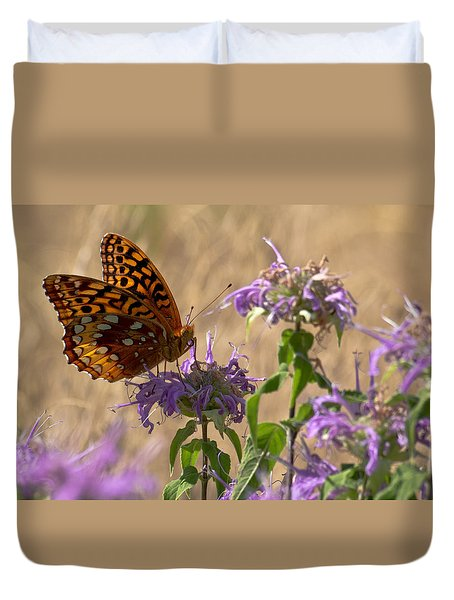 Great Spangled On Bee Balm Duvet Cover by Shelly Gunderson