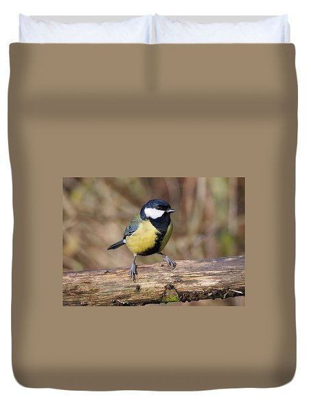 Duvet Cover featuring the photograph Great Tit On A Log by Paul Gulliver