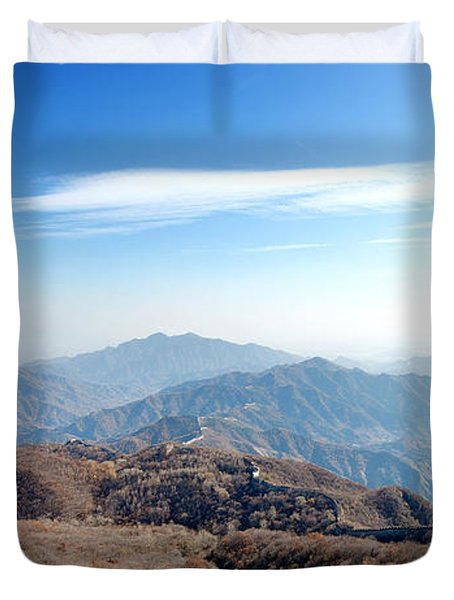 Duvet Cover featuring the photograph Great Wall Of China - Mutianyu by Yew Kwang