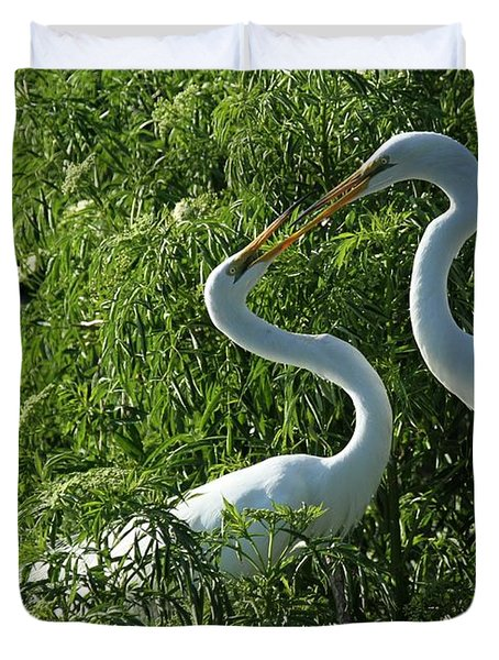 Great White Egret Lovers Duvet Cover by Sabrina L Ryan