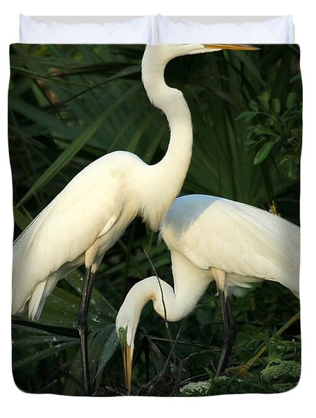 Great White Egret Mates Duvet Cover