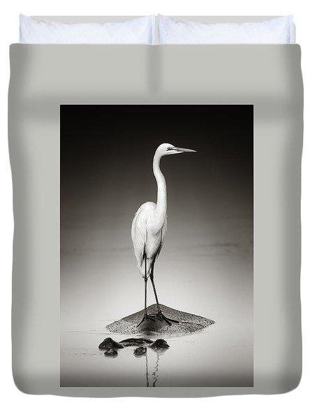 Great White Egret On Hippo Duvet Cover by Johan Swanepoel