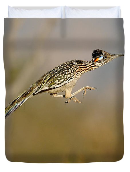 Greater Roadrunner Leaping Duvet Cover