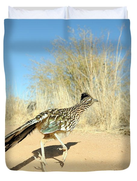 Greater Roadrunner Running Duvet Cover