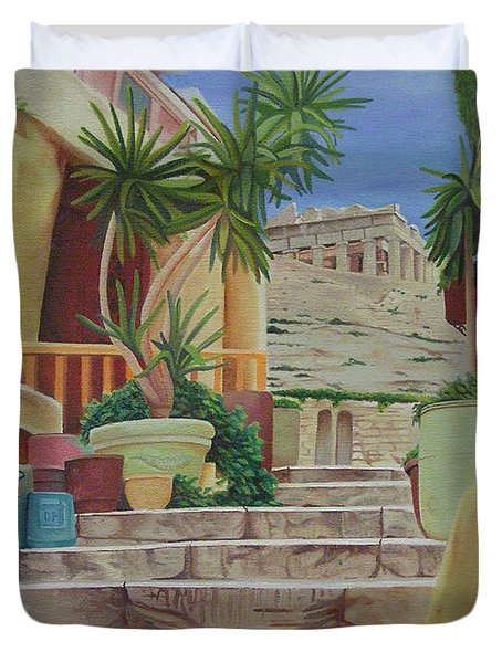 Duvet Cover featuring the painting Greece by Joshua Morton