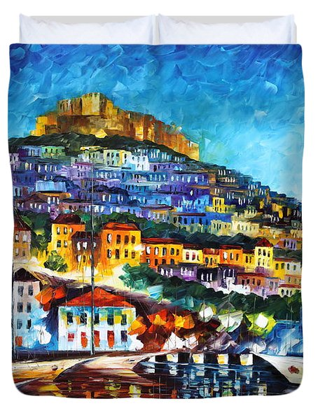Greece Lesbos Island 2 Duvet Cover by Leonid Afremov