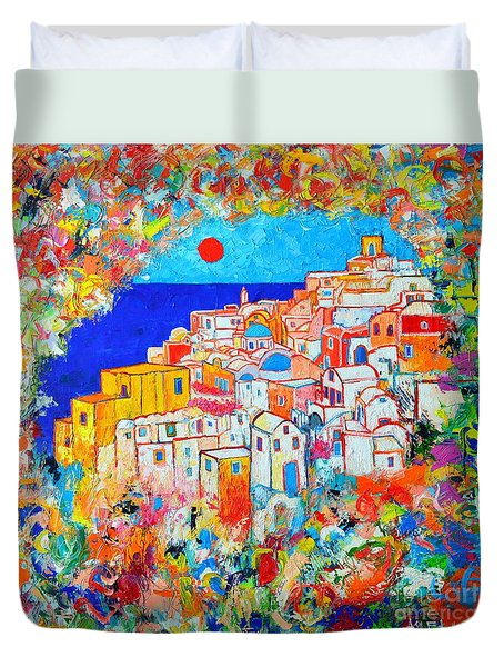 Greece - Santorini Island - Abstract Impression From Oia At Sunset - A Moment In Time Duvet Cover by Ana Maria Edulescu