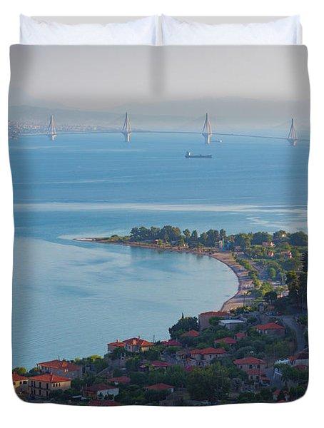 Greece. The Rioantirrio Bridge Duvet Cover