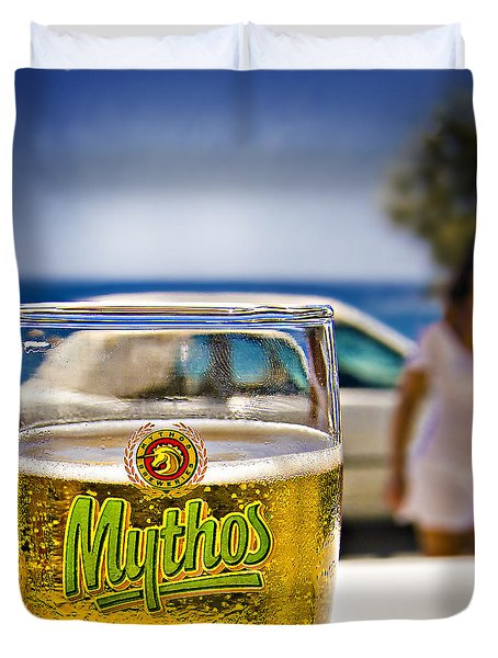 Duvet Cover featuring the photograph Greek Beer Goggles by Meirion Matthias