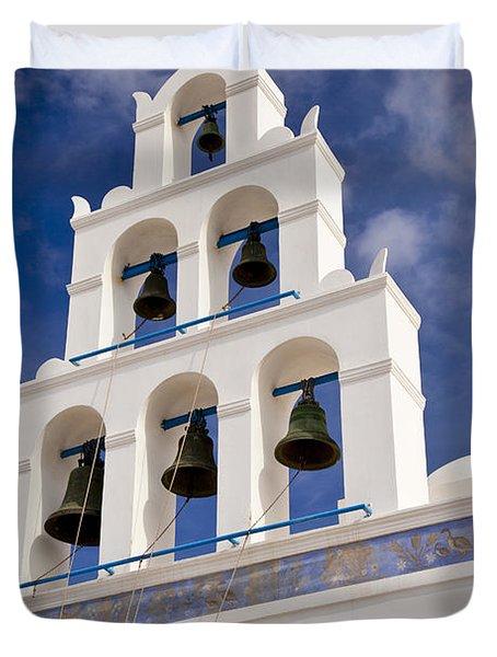 Greek Church Bells Duvet Cover by Brian Jannsen