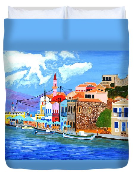 Duvet Cover featuring the painting Greek Coast by Magdalena Frohnsdorff