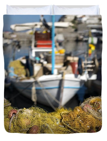Greek Fishing Harbour Duvet Cover by Mike Santis