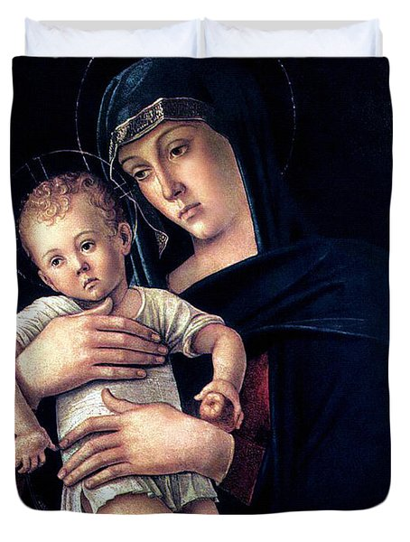 Duvet Cover featuring the painting Greek Madonna With Child 1464 Giovanni Bellini by Karon Melillo DeVega