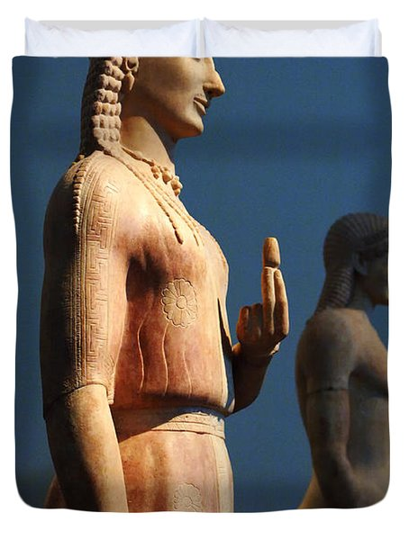 Greek Sculpture Athens 1 Duvet Cover by Bob Christopher