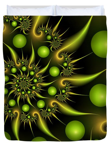 Duvet Cover featuring the digital art Green And Gold by Gabiw Art
