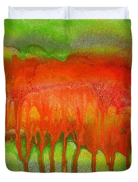 Green And Orange Abstract Duvet Cover