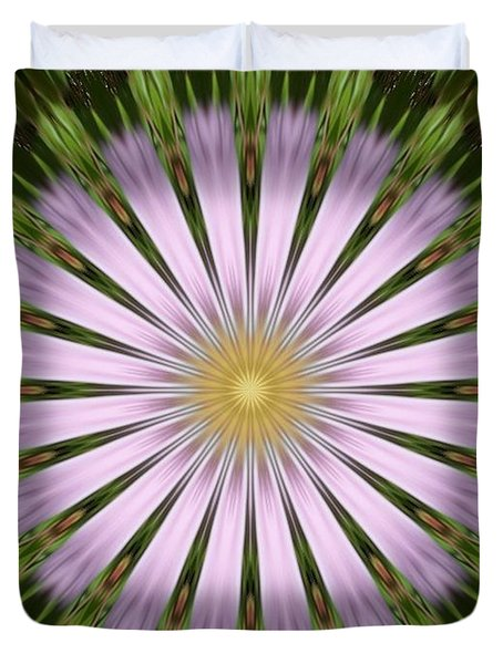 Green And Purple Starburst Duvet Cover