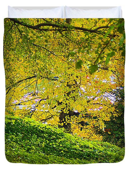 Green And Yellow Duvet Cover by Brian Wallace