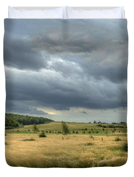 Green And Yellow Meadows At A Golfing Club In Kashubia Of Poland Duvet Cover by Julis Simo