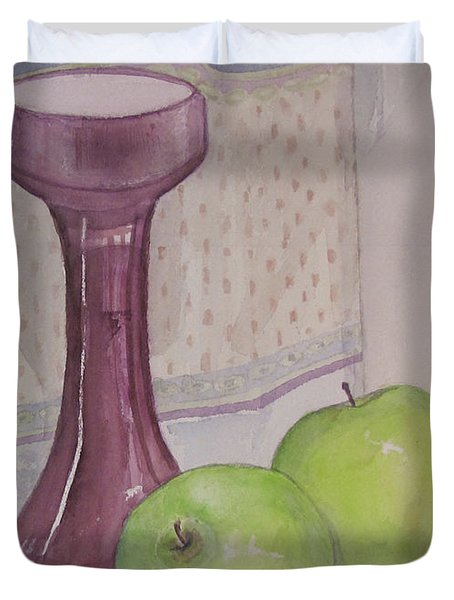 Duvet Cover featuring the painting Green Apples by Carol Flagg