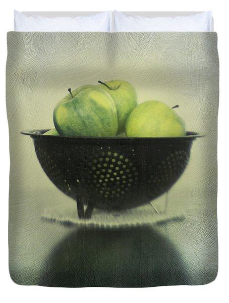 Green Apples In An Old Enamel Colander Duvet Cover