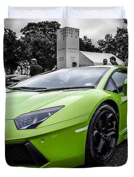 Green Aventador Duvet Cover