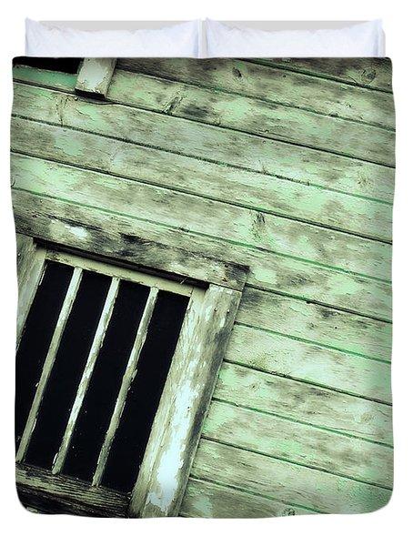 Green Barn Up Close Duvet Cover by Julie Hamilton