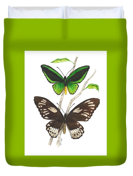 Green Birdwing Butterfly Duvet Cover by Cindy Hitchcock