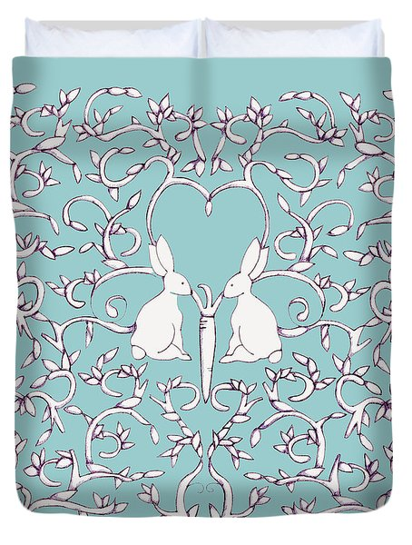 Green Blue Rabbits Leaves Duvet Cover
