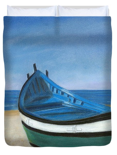 Duvet Cover featuring the painting Green Boat Blue Skies by Arlene Crafton
