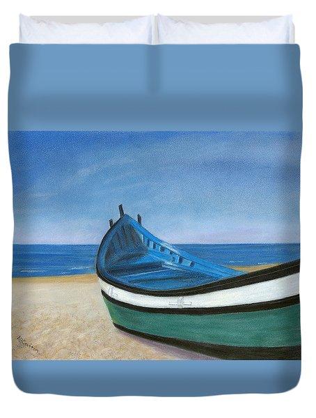 Green Boat Blue Skies Duvet Cover