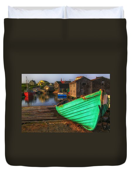 Green Boat Peggys Cove Duvet Cover by Garry Gay