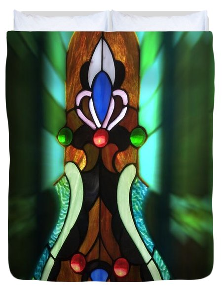 Green Brown Stained Glass Window Duvet Cover by Thomas Woolworth