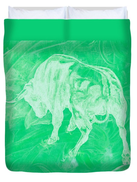 Green Bull Negative Duvet Cover