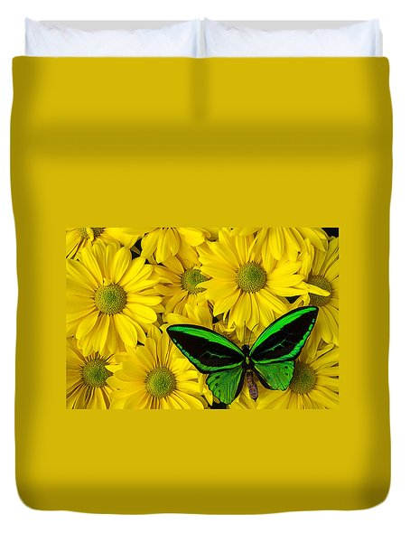 Green Butterfly Resting Duvet Cover by Garry Gay
