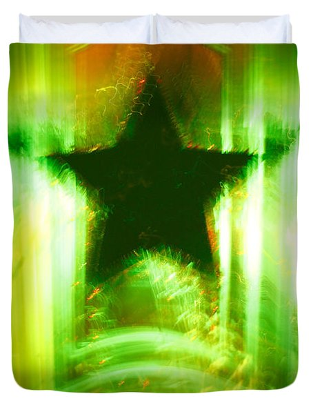Green Christmas Star Duvet Cover by Gaspar Avila