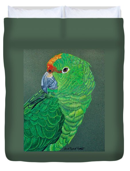 Green Conure Duvet Cover by Anita Putman