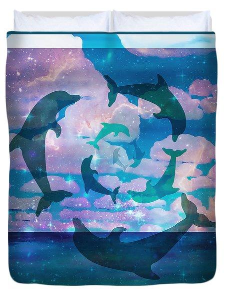 Green Dolphin Dance Duvet Cover