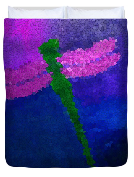 Duvet Cover featuring the painting Green Dragonfly by Anita Lewis