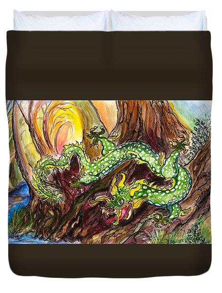 Green Earth Dragon Duvet Cover