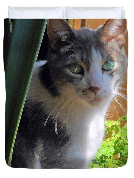 Green Eyed Cat Duvet Cover
