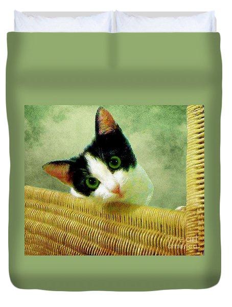 Green Eyed Cat On Wicker Duvet Cover