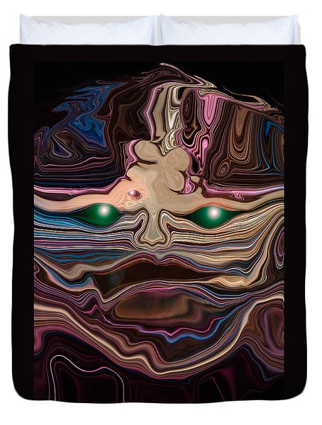 Duvet Cover featuring the digital art Green-eyed Mask by Adria Trail